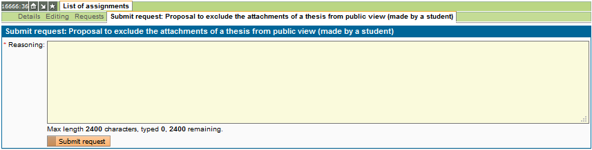 Application to exclude thesis attachments from public view