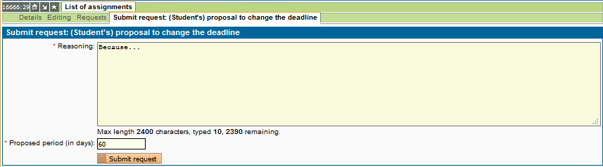 Application to extend the deadline for thesis submission